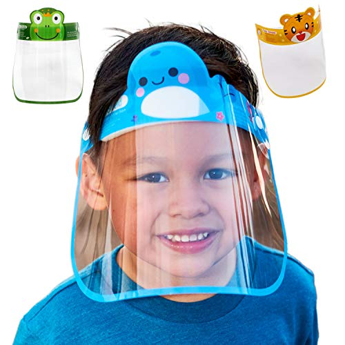3PCS Kids Face Shield Reusable Children Face Guard Cover Easy to Clean with 3 different Cute Animal Designs Clear Flexible Visor with Elastic Band & Comfort Pad (Frog Whale Lion)