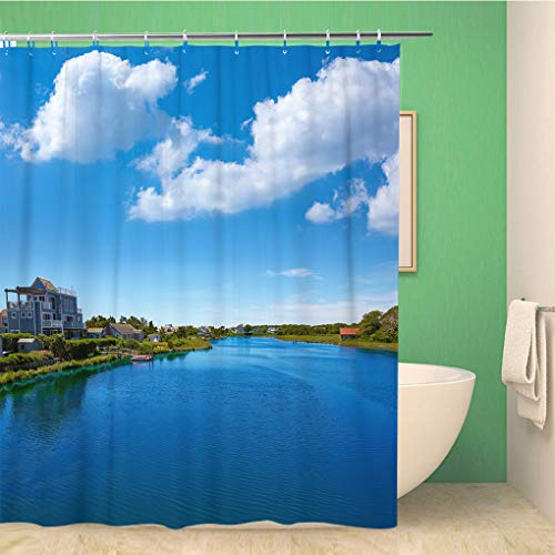 Awowee 72x72 Inches Shower Curtain Blue Cape Cod Bumps River Near Craigville Beach Massachusetts Waterproof Polyester Fabric Bath Bathroom Curtain Set with Hooks