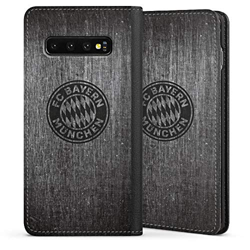 DeinDesign Klapphülle kompatibel mit Samsung Galaxy S10 Handyhülle aus Leder schwarz Flip Case Metallic Look FCB FC Bayern München