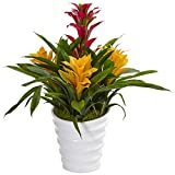 Nearly Natural Tropical Bromeliad Artificial Plant in Vase, Green