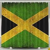 Mesllings Cortinas de ducha decorativas – Cortina de baño con bandera jamaicana – Juego de decoración de baño de tela de poliéster con ganchos – 60 x 72 pulgadas