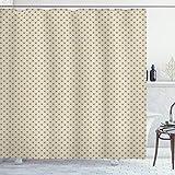 ABAKUHAUS Beige Duschvorhang, Polka Dots klassisch, mit 12 Ringe Set Wasserdicht Stielvoll Modern Farbfest & Schimmel Resistent, 175x180 cm, Beige Tan