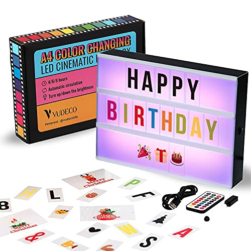 VUDECO Cinema Light Box LED Letters A4 Size Cinematic Light Box Light Up Letter Sign with 292 Letters & Emojis 16 Color Changing Cinema Light Up Letter Board Marquee Sign for Birthday Wedding Decor
