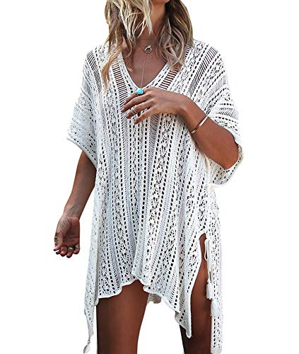 shermie Swimsuit Cover ups for Women Loose Beach Bikini Bathing Suit Cover up White