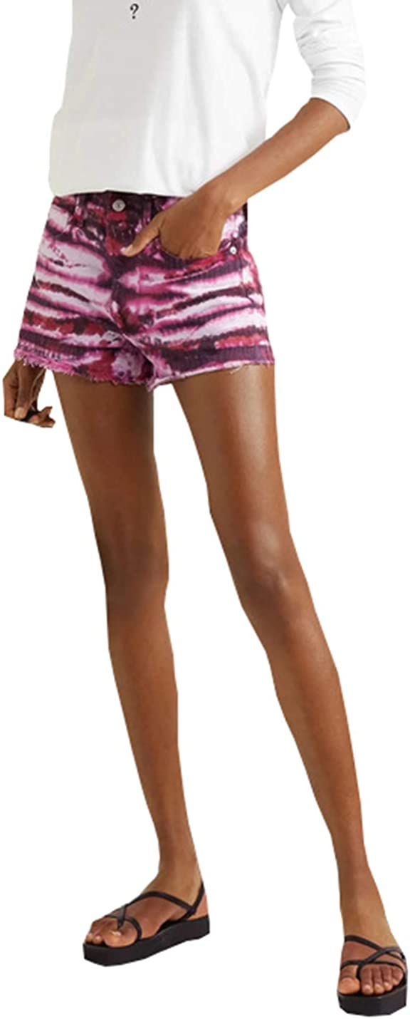PAODIKUAI Women Tie Dyed High Waisted Stretchy Jean Shorts Ripped Tassel Skinny Denim Shorts