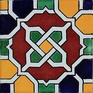 Fine Crafts Imports 4.2x4.2 9 pcs Chain Santa Barbara Mexican Tile
