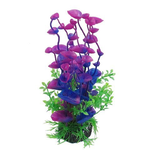Water & Wood Landscaping Water Plant Decoration for Aquarium, 8.3-Inch, Purple/Green