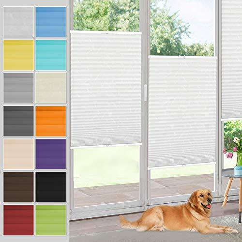 Vkele Plissee Klemmfix Faltrollo ohne Bohren (Weiß, B55cm x H130cm) Sichtschutz und Sonnenschutz, Blickdicht Plissee Rollo Jalousie für Fenster und Tür