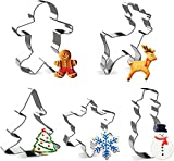 Joyoldlef Set di formine per Biscotti di Natale in 3D - Formine Biscotti in Acciaio Inox, Pupazzo di Neve, Albero di Natale, Fiocco di Neve, Omino di Marzapane