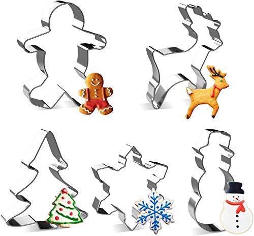 Joyoldlef Set di formine per Biscotti di Natale in 3D - Formine Biscotti in Acciaio Inox, Pupazzo di Neve, Albero di Natale, Fiocco di Neve, Omino di Marzapane (Argento)