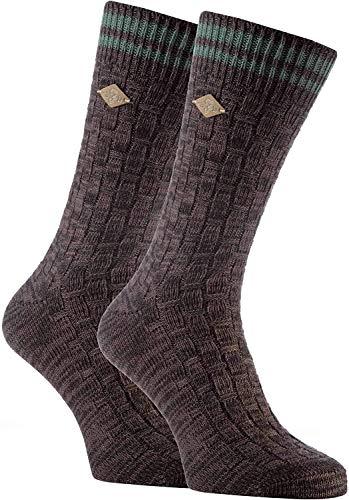 FARAH® - 2er Pack Herren Vintage Qualität Baumwolle Socken mit Gestreift (39/45, 04 Earth Brown)