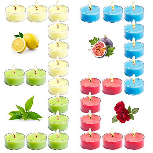 Tobeape Scented Tealight Candle Gift Set for 8 Hours Burning, 32 Pack Natural Soy Tea Lights Portable Travel Candle, Aromatherapy Small Cute Candles with Strongly Fragrance Essential Oils