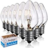 Salt Rock Lamp Bulb 6 Pack + 2 Free 15 Watt Replacement Bulbs for Himalayan Salt Lamps & Baskets, Chandeliers, Candle & Wax Warmers, Night Lights. Incandescent E12 Socket w/ Candelabra Base, C7, Clear