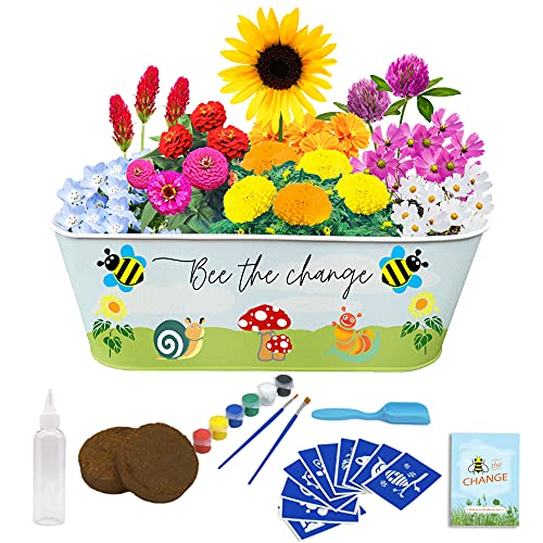 CV CHARVORIA Paint & Plant Kids Gardening Set - Bee-Friendly Arts and Crafts for Kids Ages 6-8 Includes 10 Fun Stencils I for Girls and Boys Ages 4 5 6 7 8 9 10 for Birthday I Kids Plant Growing Kit