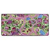 Primaflor - Ideen in Textil Tapis de Jeux Ville Rose 0,95m x 2,00m, Tapis de Jeu Fille | Tapis Rose Circuit Voiture | Tapis de Sol Enfant de Haute Qualité