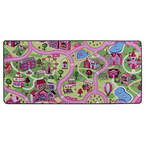 Tapis de Jeux Ville Rose 0,95m x 2,00m, Tapis de Chambre Fille | Tapis Circuit Voiture | Tapis de Sol Enfant de Haute Qualité