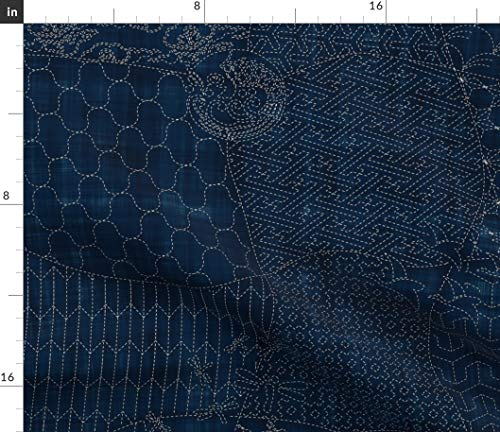 Spoonflower Fabric - Collection Sashiko Japanese Traditional Quilt Origami Dark Blue Indigo Printed on Petal Signature Cotton Fabric by The Yard - Sewing Quilting Apparel Crafts Decor