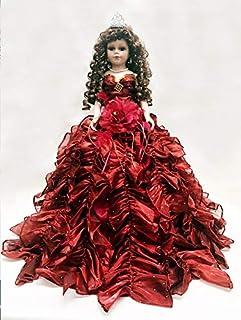 "Jmisa 24"" Umbrella Porcelain Dolls Quince Anos Burgundy"