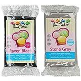 Funcakes - 2 X Paquetes de Fondant / Pasta de azucar de 250g (Negro y gris)