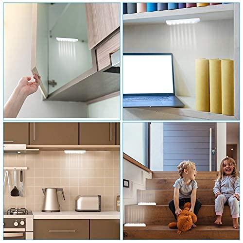 2 Piezas Luces de Armario con Sensor Lámpara Sensor de Cuerpo Humano USB Recargable 14 LED Luz de Detección Inducción Luces Debajo Gabinete Magnéticas Luz LED Nocturna Seguridad con Sensor