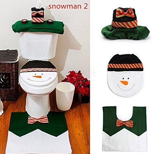 WANGSOAR Huishoudelijke Kerstman Doek Toilet Voet Pad Cover Toilet Seat Cover Radiator Cap Cover Decoraties Badkamer Set
