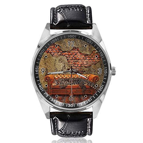 Sofá Reloj analógico de Cuarzo con diseño Personalizado, Esfera Plateada, Correa de...