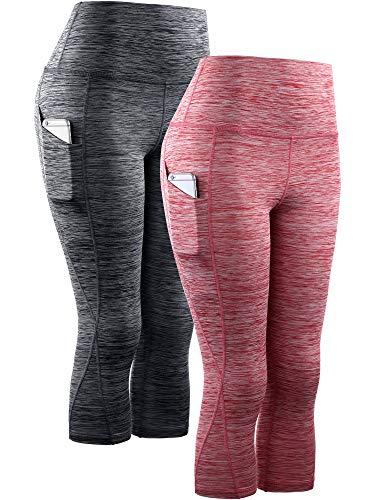 Neleus Women's 2 Pack Yoga Capris Running Leggings with Pockets,9034,Black,red,XL
