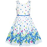 Sunny Fashion Robe Fille Bleu Fleur Pétale Été Robe d'été 7 Ans