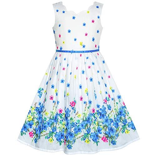Sunny Fashion Mädchen Kleid Blau Blume Blütenblatt Sommer Trägerkleid Gr. 134/10 Jahre