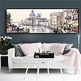 zgmtj Ciudad de Agua Abstracta de Venecia Pintura al óleo sobre Lienzo Resort Barcos Edificios Cuadros Carteles e Impresiones Arte de la Pared para la Sala de Estar