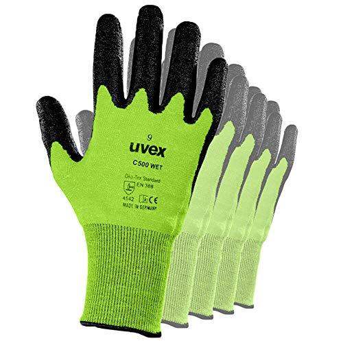UVEX C500 Wet, 60492 10 Paar, Gr. 9, Schnittschutzhandschuh aus Mischgewebe, Glasfaser, Kunststoff, Kautschuk