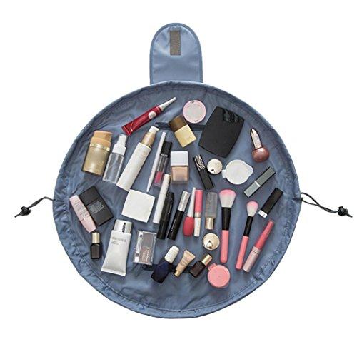 Yogogo Portative Drawstring Multifonctions Ronde Capacité Trousse De Toilette Maquillage CosméTiques Sacs De Voyage/Vacances/Travel Tour Sac CosméTique Make Up Bag (47*47cm/18.14*18.34in, Gris)