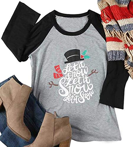 Let It Snow Christmas Holiday Snowman T-Shirt Womens Funny O-Neck Tops Raglan Size L (Black)