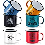 TeamFar Coffee Mug, 16 oz Multi Colors Enamel Tea Mug Set of 6, Camp Drinking Cups with Patterns for Milk Tea Beer, Non-Toxic & Portable, Lightweight & Durable, Wide Handle & Smooth Rim, Easy Clean