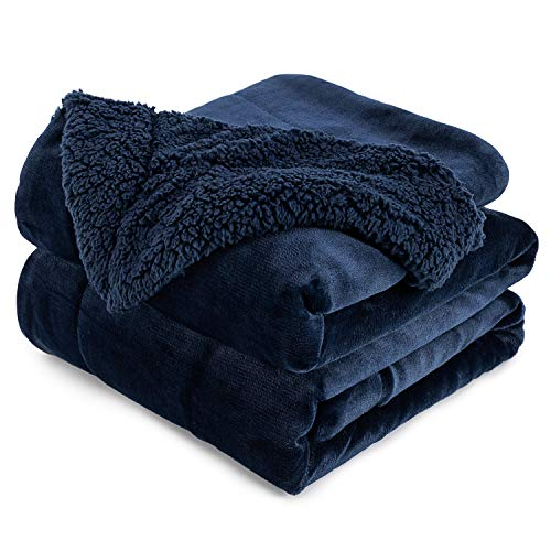 Anjee Sherpa Fleece Decke, doppelseitige superweiche Wendebett- und Couchdecke, warme und leichte Innendekorationsdecke, Marineblau für Einzelgröße 150 x 200 cm