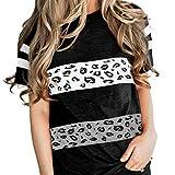 Jersey de Cuello Redondo para Mujer, Tendencia de Moda Superior, Personalidad, Color, Costura a Juego, Suelta, cómoda, Camiseta de Manga Corta L