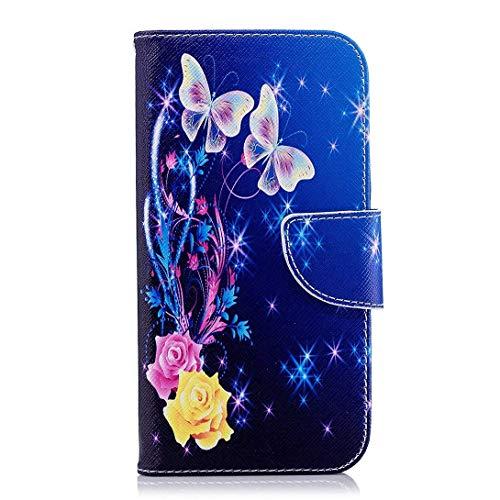 Uposao Kompatibel mit Handyhülle Huawei P20 Handytasche Handy Hüllen Flip Case Cover Schutzhülle Brieftasche Ledertasche Lederhülle Etui Klapphülle Kartenfächer,Rose Blumen Schmetterling