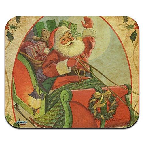 Weihnachtsfeiertag Retro Antiker Santa Schlitten Laptop/Pc Maus Pad Rutschfestem Maus Mat Ultradünner Mauspad Für Office,Geschenk,Gaming,25X30Cm