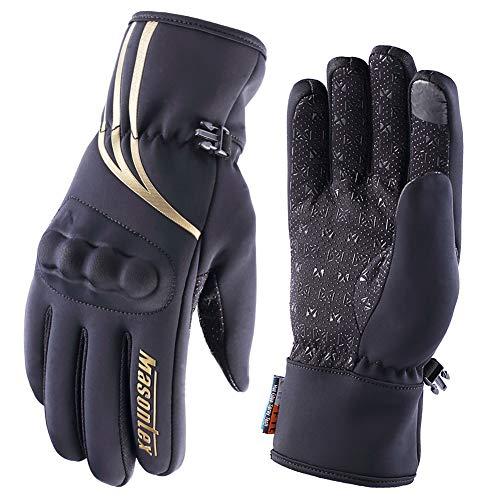 Guantes Moto Invierno 100% Impermeables Pantalla Táctil Guantes Termicos Motocross Motocicleta Deportivos de Protectores para Hombres Mujer(Oro,L)