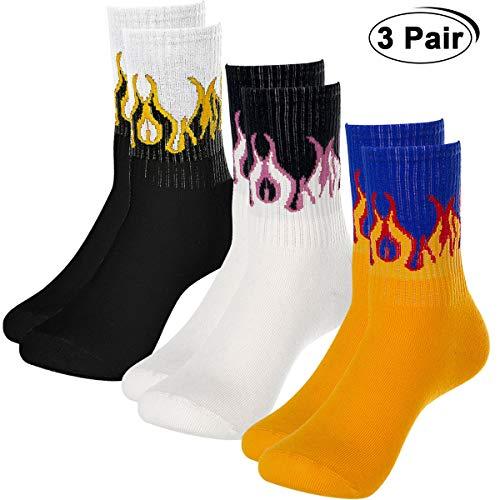 Richaa 3 Pares Calcetines de Tubo Medio de Llama para Hombres, Unisex Novedad Calcetines Hip Hop Harajuku Calcetines elásticos de algodón cálido para Mujeres (3 Colores)