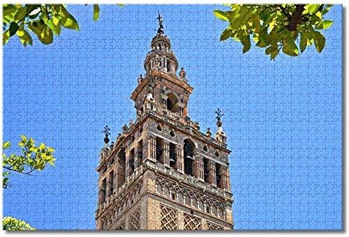 Puzzle  España Giralda Tower Sevilla Rompecabezas para Adultos Niños 1000 Piezas Juego de Rompecabezas de Madera para Regalos Decoración del hogar