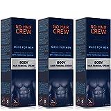 3x NO HAIR CREW Crema Depilatoria Corporal Premium Masculina – Hecha para Hombres, 3 X 200 ml