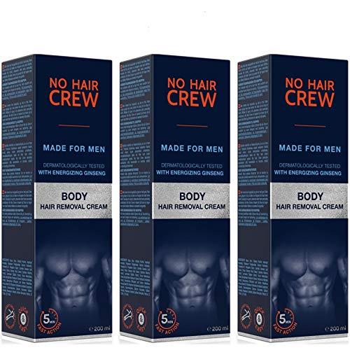 3x NO HAIR CREW Crema Depilatoria Corporal Premium Masculina