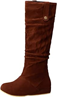ELEEMEE Women Height Increase Slouch Boots Pull On