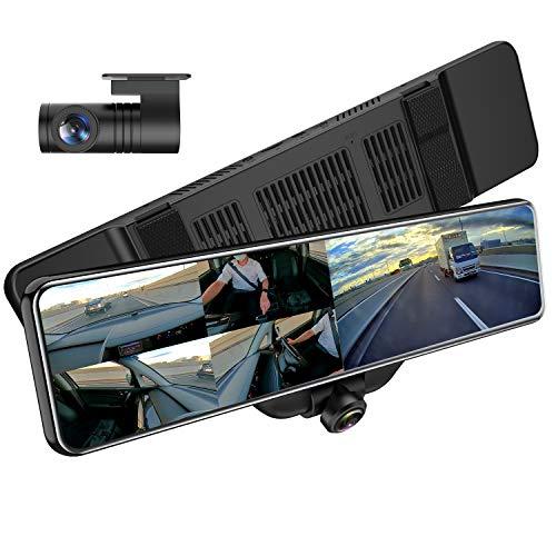 AKEEYO 業界最新360°カメラ全方位録画 ドライブレコーダー ミラー型 11.88インチ 前後カメラ 水平360度 垂直220度 超広角 前1920P後1080P ミラー 長方形タイプ ドラレコ GPS搭載 音声録音 SONYセンサー STARVIS タッチパネル HDR搭載 Gセンサー 衝撃感知 駐車監視 エンジン連動 常時録画 リバース連動 地デジ干渉対策 東西日本信号機対応 32GB MicroSDカード同梱 日本語説明書 1年保証 AKY-V360S