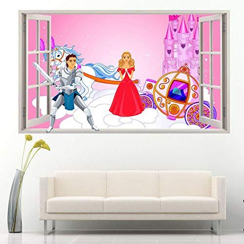 Knight Castle Girl Etiqueta de la pared Dormitorio 3D Habitación de los niños Etiqueta de vinilo