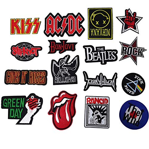 Rock Patches Set,16pcs Rock Punk Band Patch Set Iron on Sew on Patches, Nirvana, Beatles, KISS, AC/DC, Green Day, Guns Roses for Clothes Jacket Jeans Applique