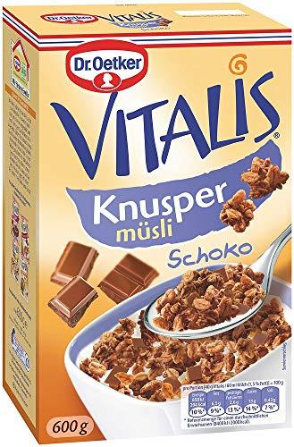 Dr. Oetker Vitalis Knuspermüsli Schoko, Knuspermüsli mit Vollmilchschokolade, 5er Packung (5 x 600g)
