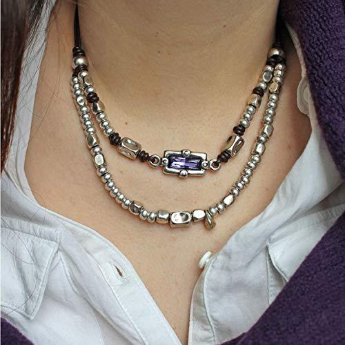 Collar de cuero, con swarosvski y abalorios de zamak, hecho a mano por Intendenciajewels - Collar de cuero y zamak - Collar de mujer - Joyeria artesanal - Collar mujer swarovski