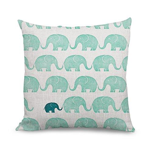 IoQuenn Graziosa federa per cuscino decorativo quadrato, motivo modulare a elefanti, per bambina, con cerniera zip, per camera da letto